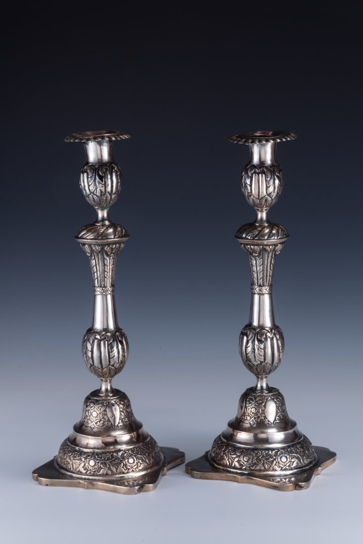 5: A MASSIVE PAIR OF SILVER CANDLESTICKS. Poland, 1850