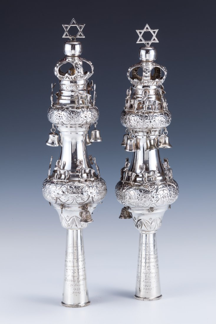 20: A LARGE PAIR OF STERLING SILVER TORAH FINIALS1922