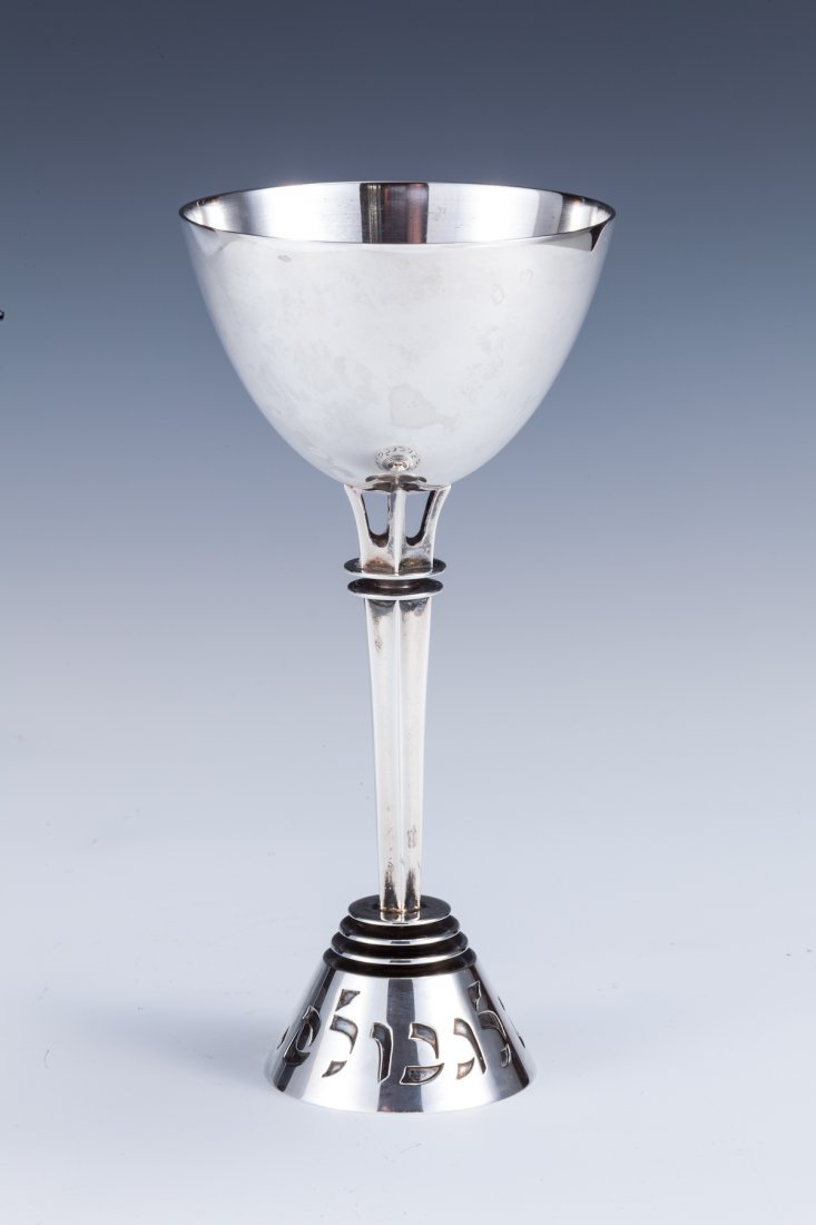 22: A LARGE AND RARE SILVER KIDDUSH CUP LUDWIG WOLPERT