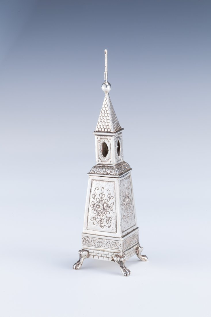 23: A SILVER SPICE TOWER. Germany, c. 1870.