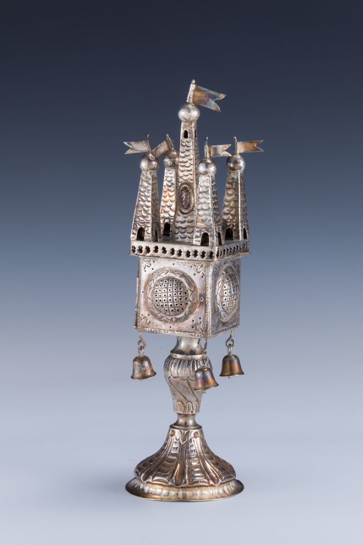 32: A SILVER SPICE TOWER. Germany, c.1900.