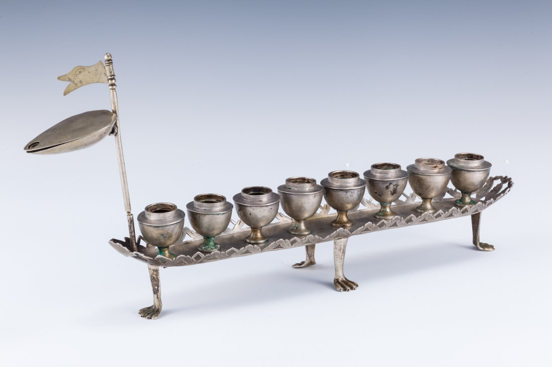 35: A RARE AND IMPORTANT SILVER CHANUKAH LAMP. Poland,