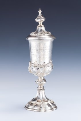 A LARGE AND IMPORTANT SILVER KIDDUSH GOBLET. Hungar