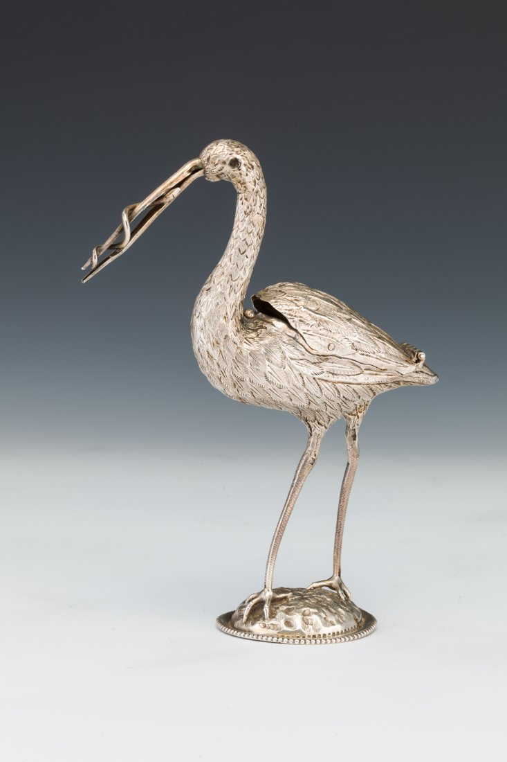 111: A SILVER STORK SHAPED CONTAINER. Dutch, c.1900.