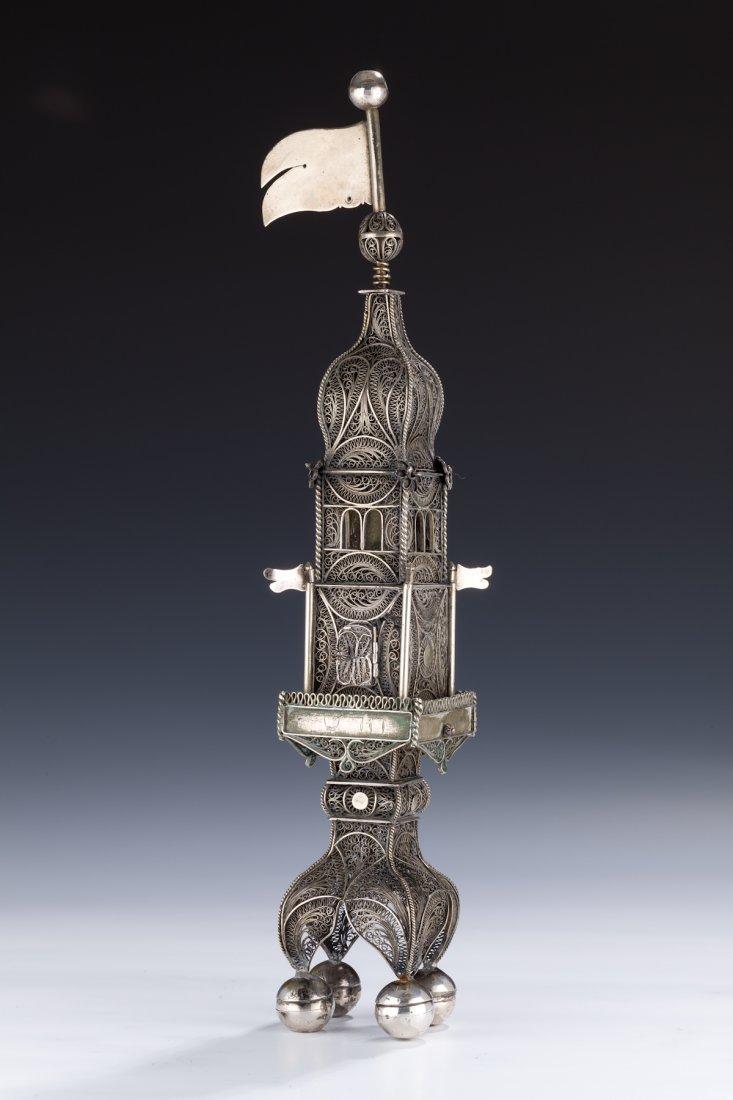 3: A Monumental Silver Filigree Spice Tower.  Poland,