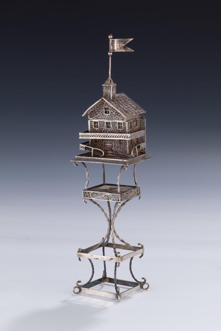 5: A Rare Silver Filigree Spice Container. Vienna 1870