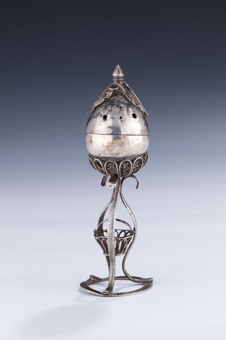 8: A SILVER SPICE CONTAINER. Poland, c. 1840. In the fo