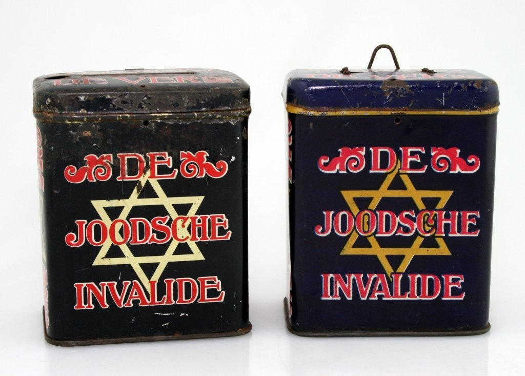 6: TWO TIN CHARITY BOXES. The Netherlands, c. 1920. Col