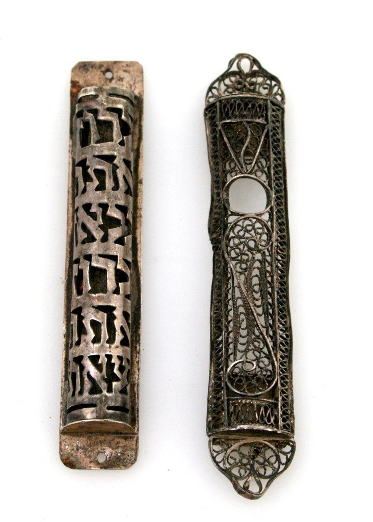 19: TWO SILVER MEZUZAH COVERS. Israel, 20th century. On