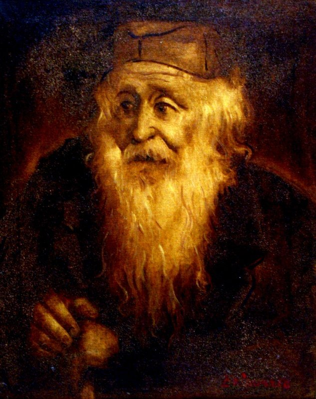 222: A LARGE OIL PAINTING OF A RABBI. United States, c.