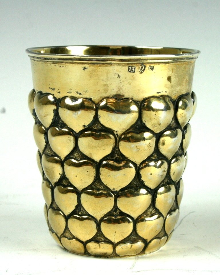 22: A RARE LARGE SILVER GILT KIDDUSH CUP. Germany, Mid