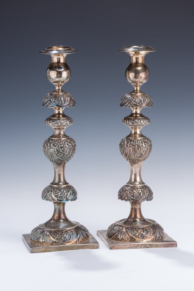 1: A PAIR OF MONUMENTAL SILVER CANDLESTICKS BY JAN PORG