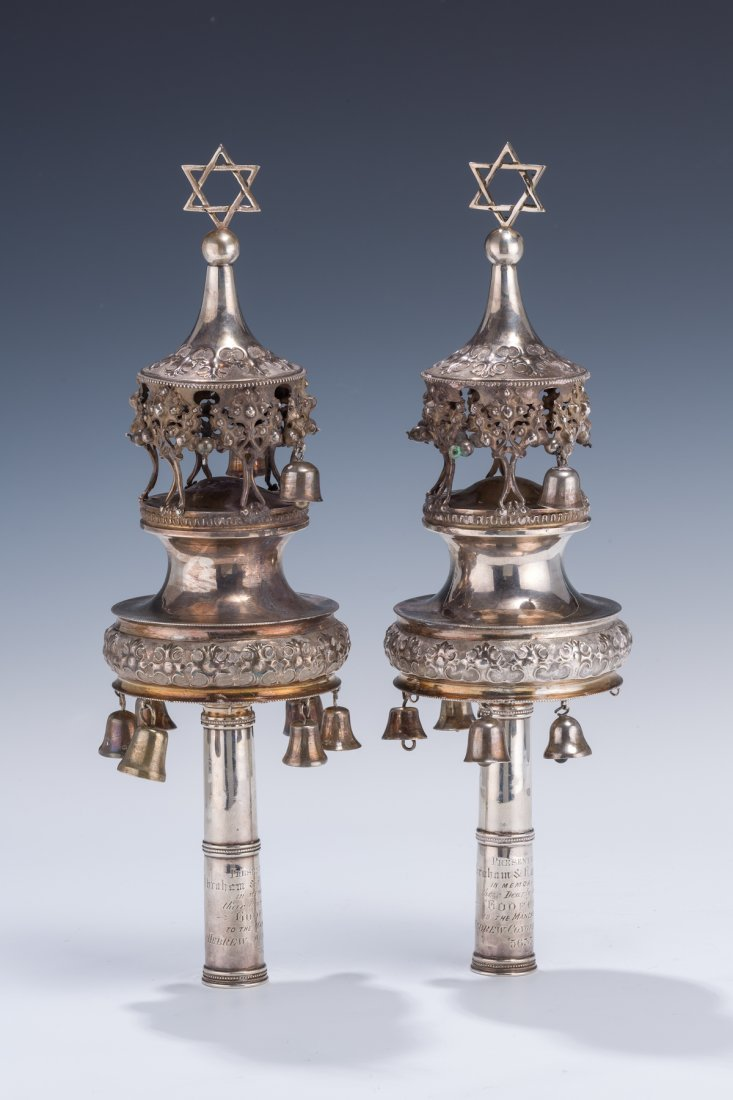 8: A PAIR OF SILVER TORAH FINIALS