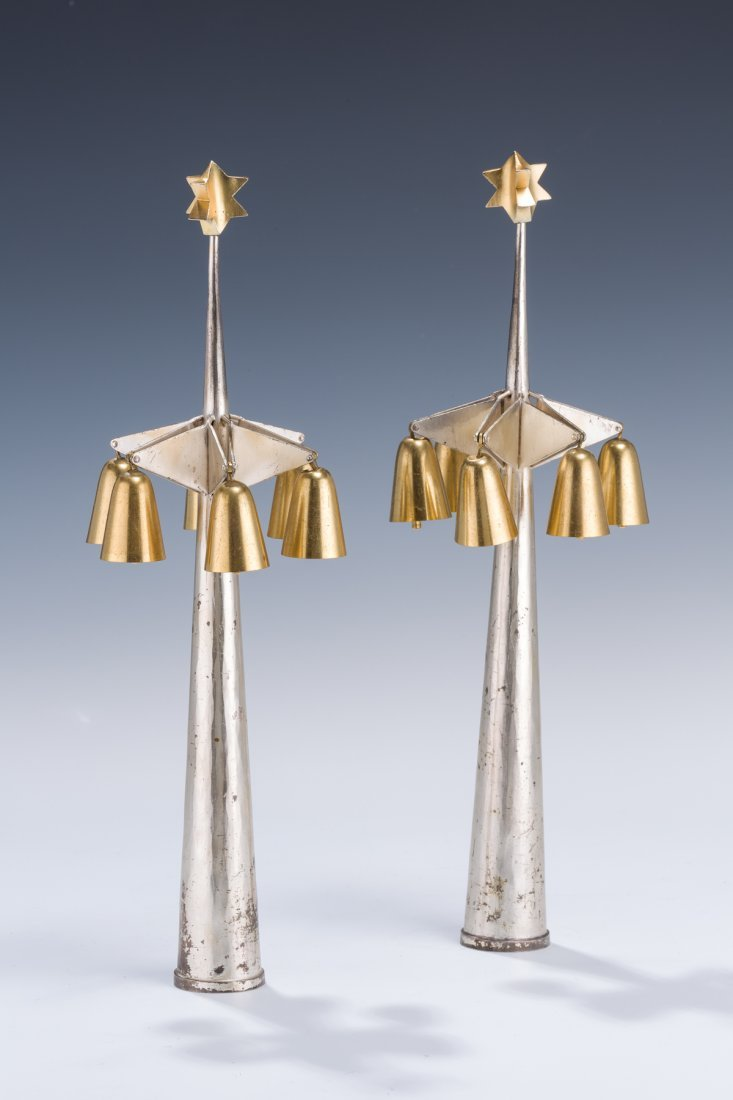 15: A PAIR OF MODERNISTIC ARTS AND CRAFTS TORAH FINIALS