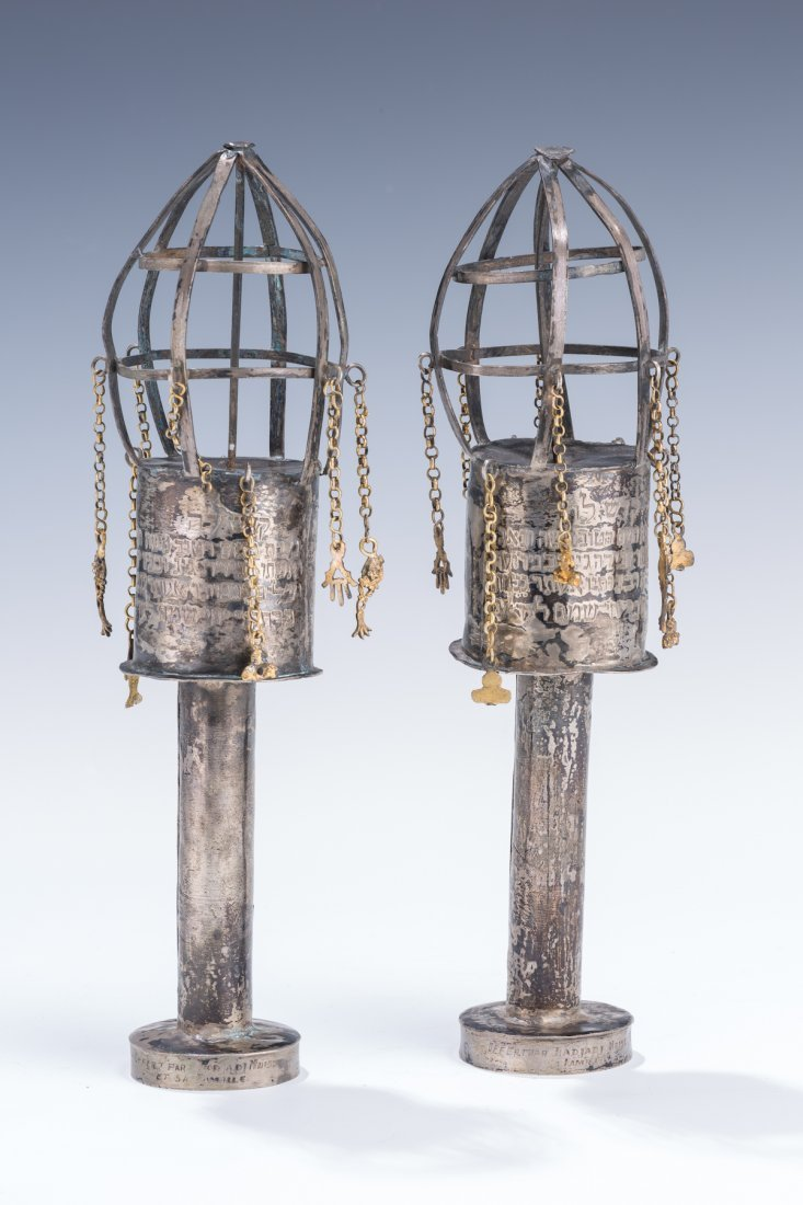 19: A PAIR OF SILVER TORAH FINIALS