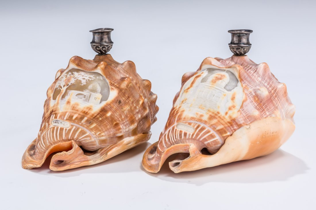 23: A PAIR OF MAGNIFICENT CONCH SHELL CANDLESTICKS BY B