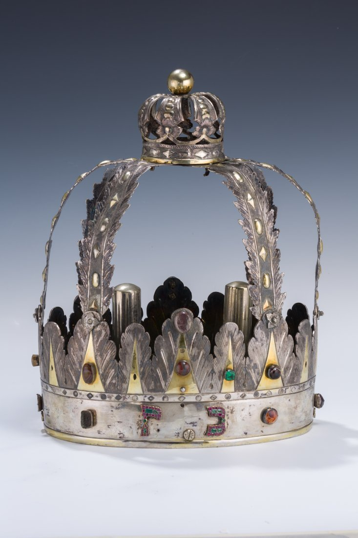 41: AN EXCEPTIONALLY RARE SILVER TORAH CROWN