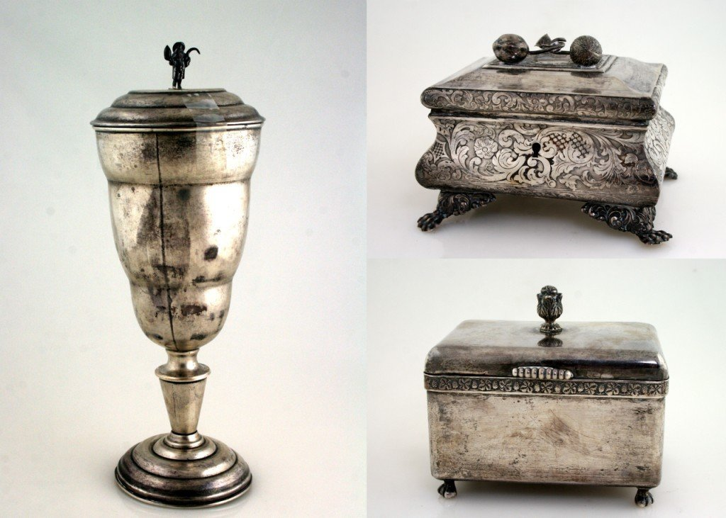 109: THREE SILVER ETROG BOXES. Germany and Poland. Vari