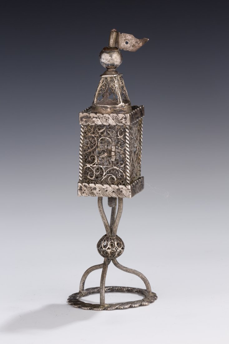 AN EARLY SILVER SPICE CONTAINER. Bohemian, 18th century