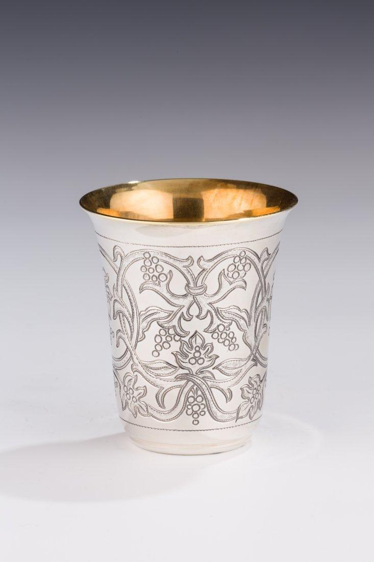A LARGE SILVER KIDDUSH CUP BY SHUKI FRIEDMAN. Hand deco