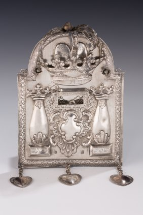 AN EARLY SILVER TORAH SHIELD. Poland, 1812. In tablet f