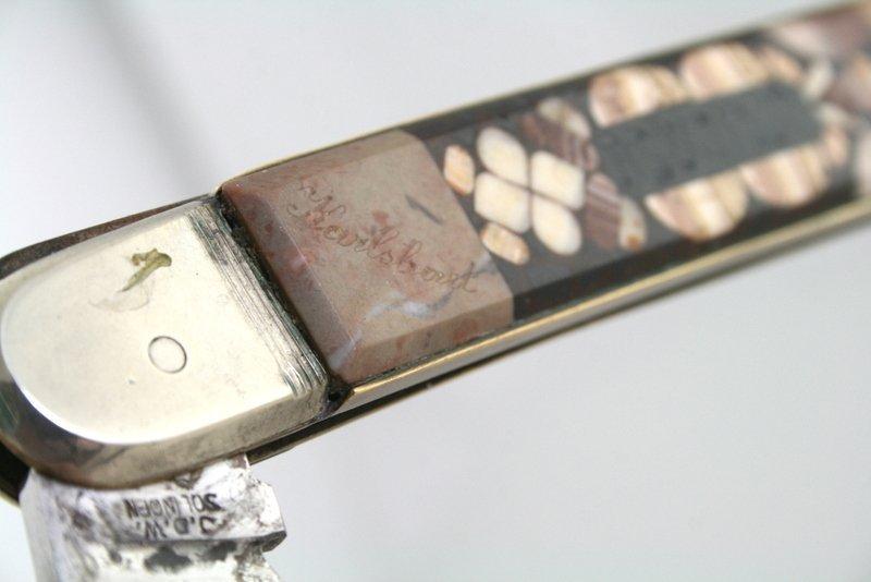 AN EARLY INLAID CHALLAH KNIFE. Karlsbad, c. 1890. Inlai - 3