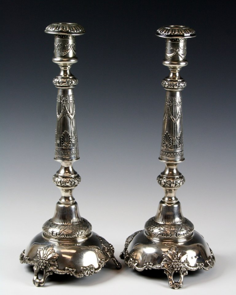 A PAIR OF LARGE SILVER CANDLESTICKS. Poland, 19th centu