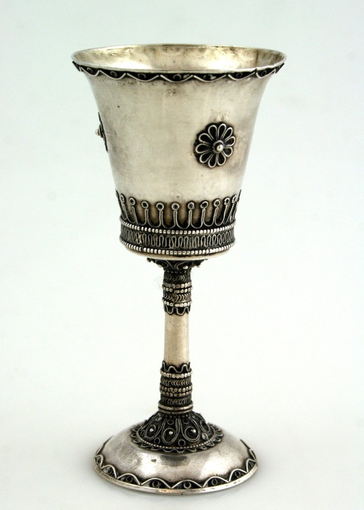 AN EARLY JERUSALEM SILVER KIDDUSH CUP. Palestine, c. 19