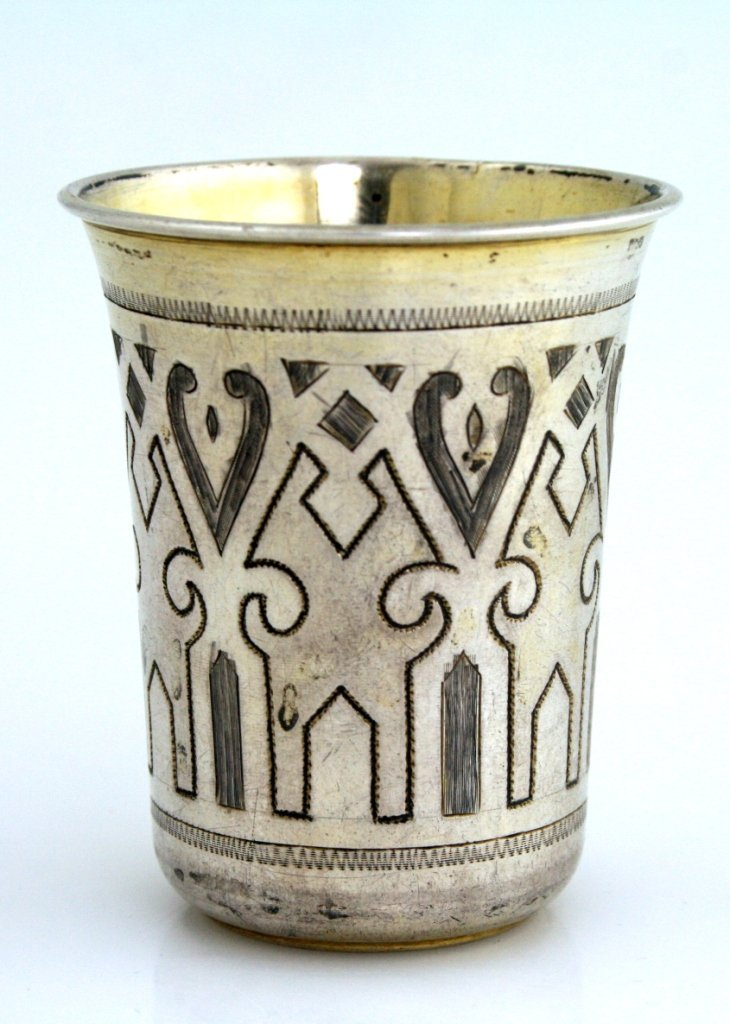 A SILVER KIDDUSH BEAKER. Russian, 1877. With traces of