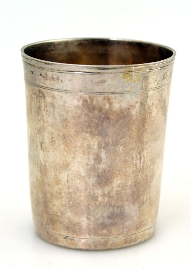 AN EARLY AND RARE SILVER KIDDUSH BEAKER. Moscow, 1747.