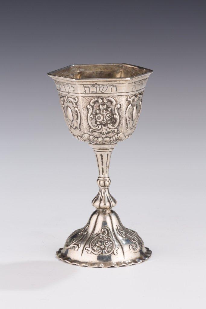 A Silver Hexagonal Silver Kiddush Goblet