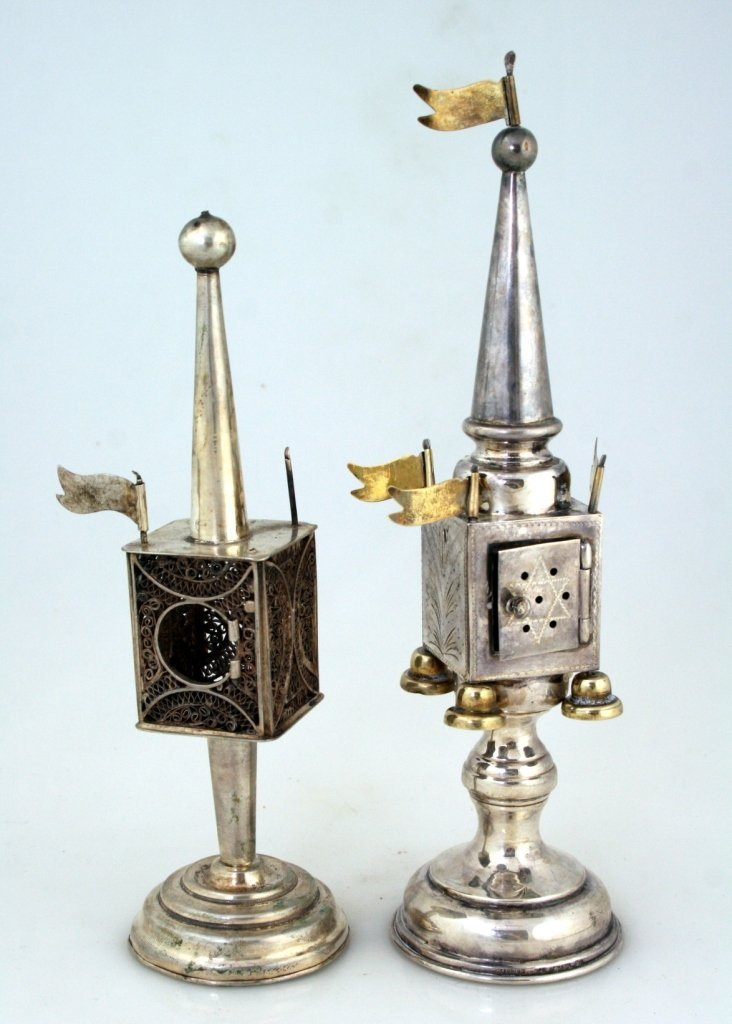 TWO SILVER SPICE TOWERS. Germany, c. 1900. Both on roun
