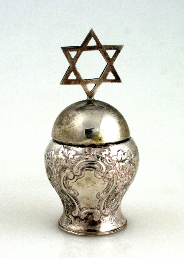 A SILVER SPICE CONTAINER. Germany, c. 1880. Baluster sh