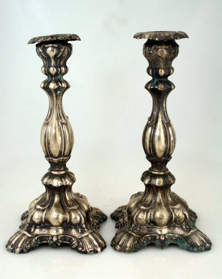 A PAIR OF SILVER SABBATH CANDLESTICKS. Germany, 19th ce