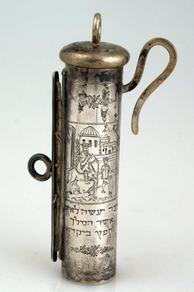 A SILVER SCROLL HOLDER. Vienna, 19th century. Tubular w