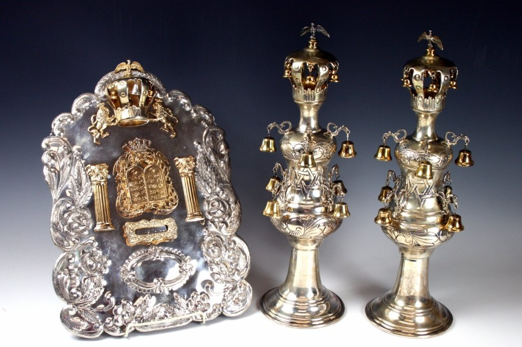 A STERLING SILVER SET OF TORAH ORNAMENTS. American, c.