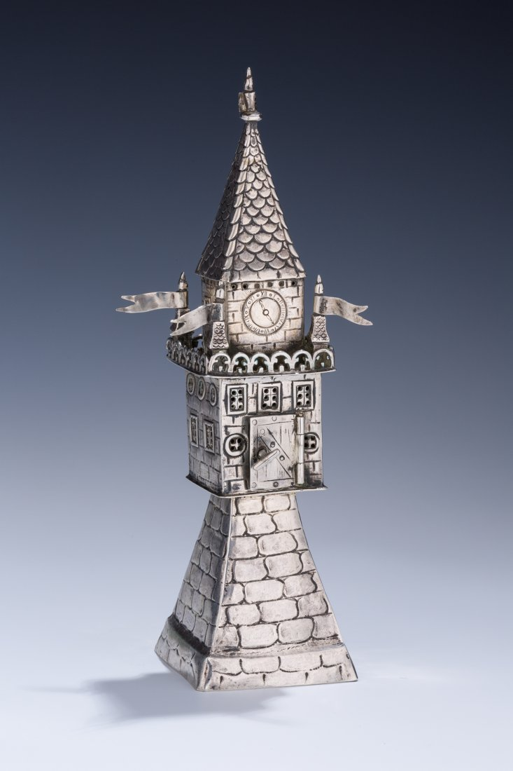 AN EXCEPTIONAL SILVER SPICE TOWER. Germany, 19th centur