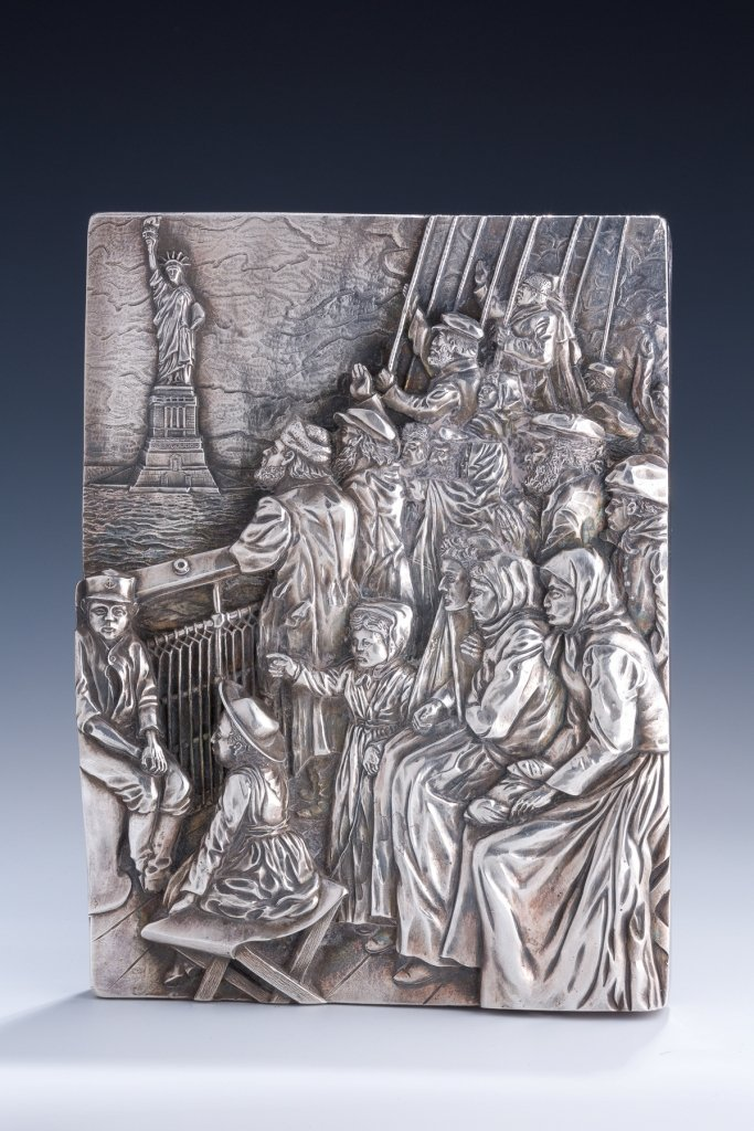 A LARGE SILVER RELIEF BY HENRYK WINOGRAD. New York, 199