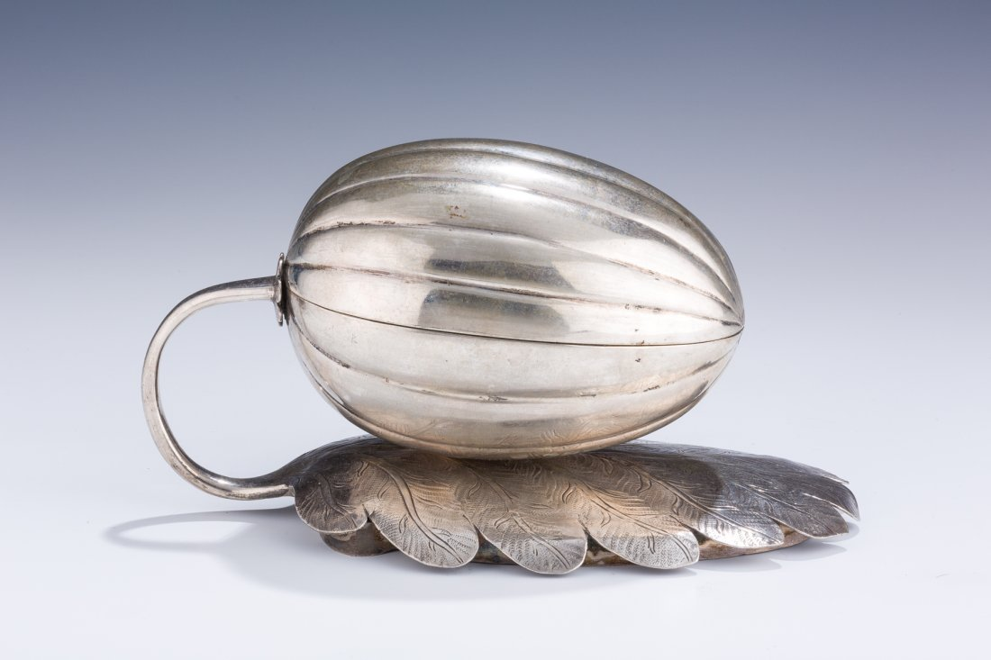 A LARGE SILVER ETROG CONTAINER. Russian, 19th century.