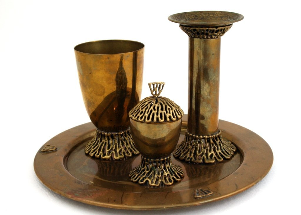 A BRASS HAVDALAH SET BY BIER. Israel, 1960's.