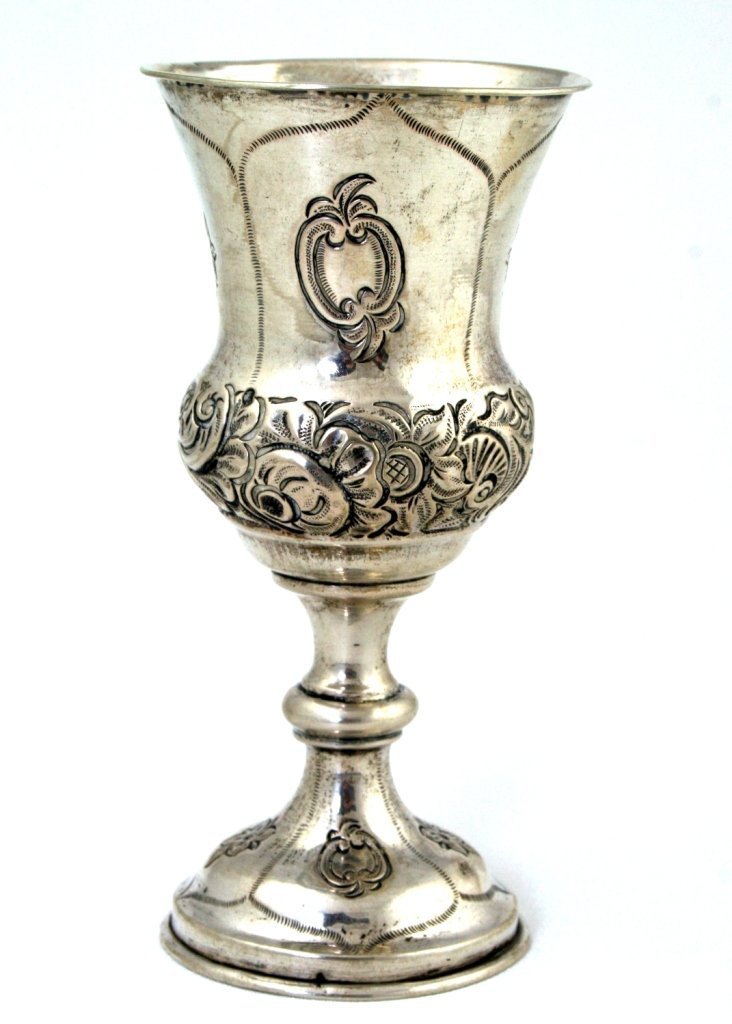 A LARGE SILVER KIDDUSH CUP. Vienna, c.1850. On round