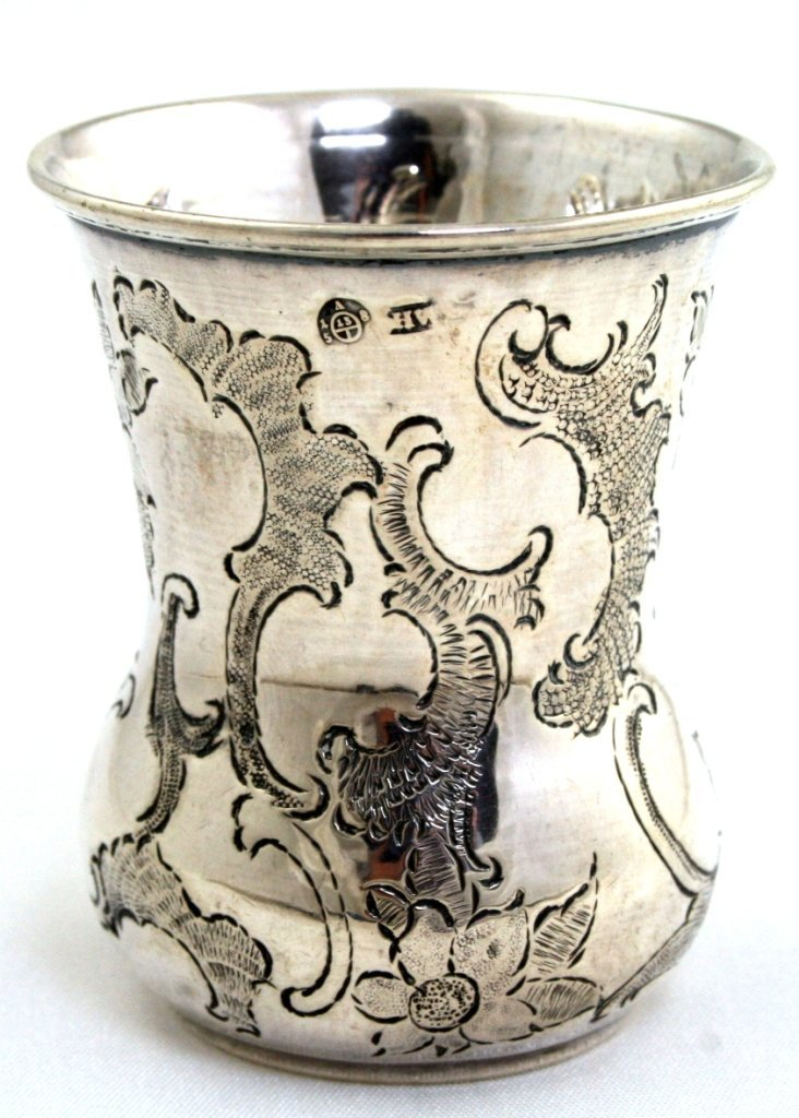 A SILVER KIDDUSH BEAKER. Vienna, c.1850. On rounded
