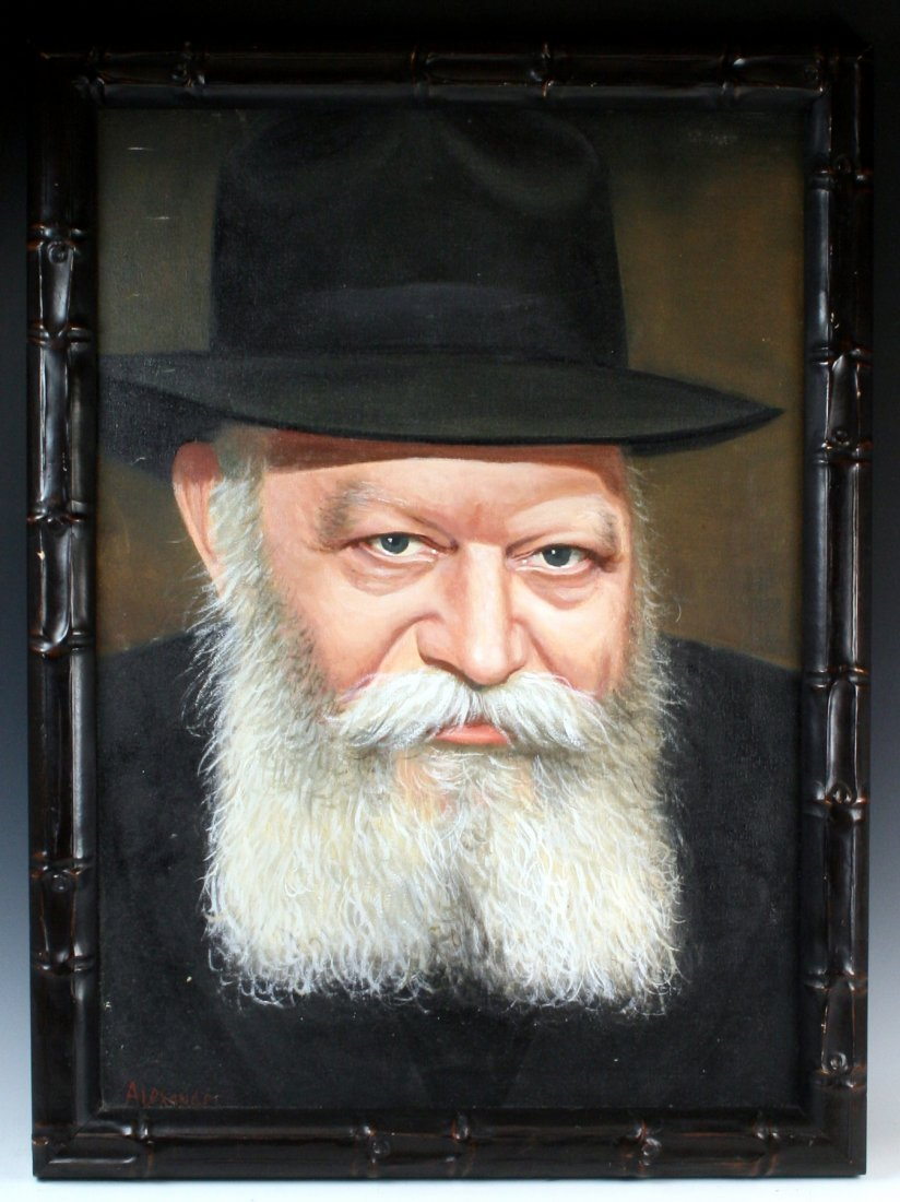 AN OIL ON CANVAS PAINTING OF THE LUBAVITCHER REBBE.