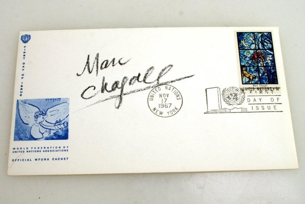 A FIRST DAY COVER SIGNED BY MARC CHAGALL. 1967.