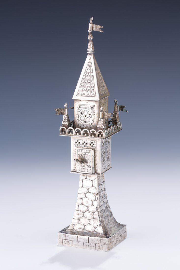 A LARGE SILVER SPICE BOX. Germany, c. 1850. In tower