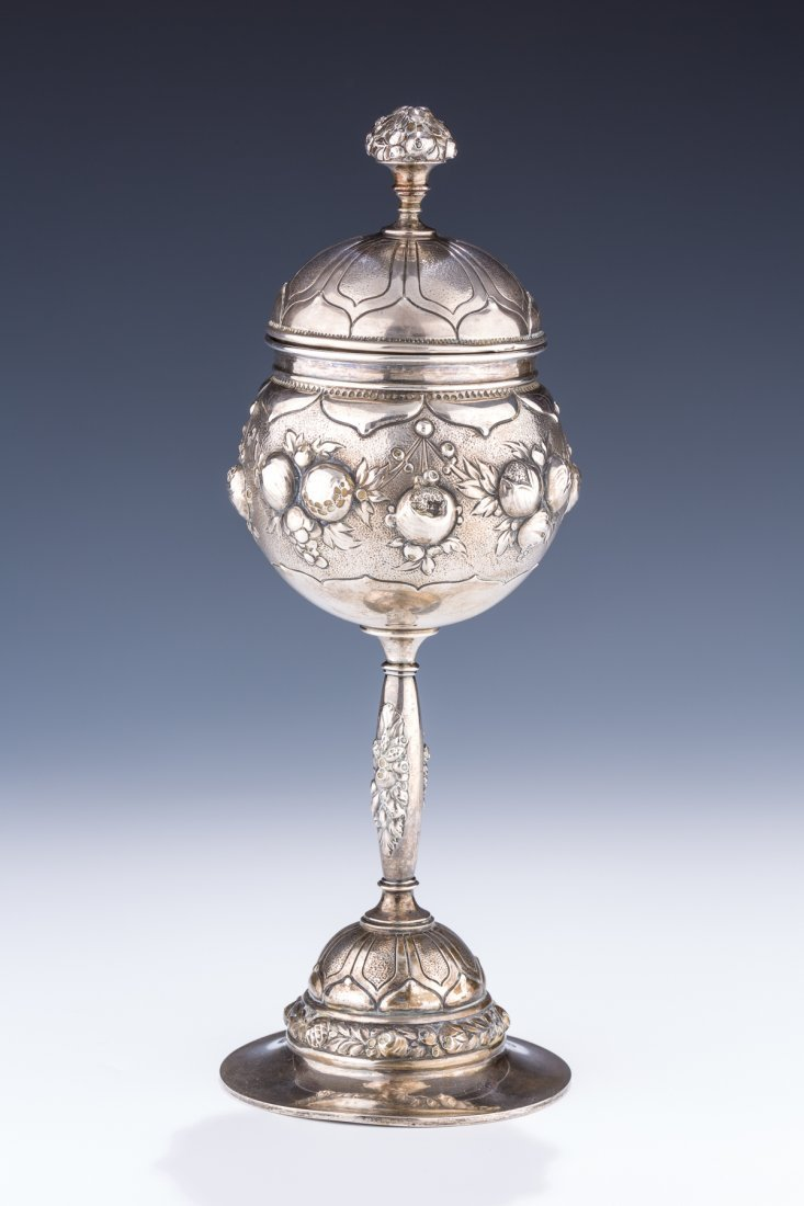 A MASSIVE SILVER KIDDUSH GOBLET OR SPICE CONTAINER.