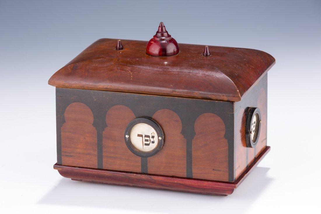 A VERY RARE WOODEN BOX. Probably Palestine, c. 1900.