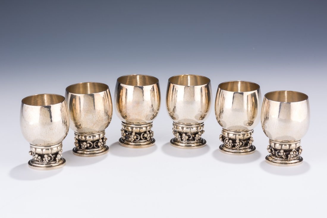 A SET OF SIX WINE CUPS BY GEORG JENSEN. Denmark, c.