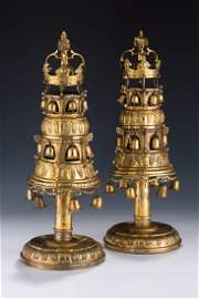 AN EXCEPTIONALLY RARE AND IMPORTANT PAIR OF PARCEL GILT
