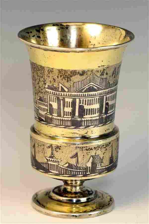 A SILVER NIELLO KIDDUSH GOBLET. Russian, 1839. Parcel